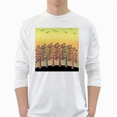 Magical Sunset White Long Sleeve T Shirts by Valentinaart