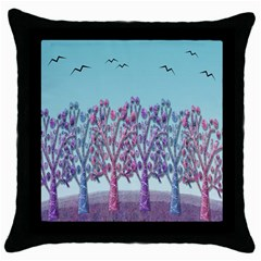 Blue Magical Landscape Throw Pillow Case (black) by Valentinaart