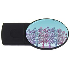 Blue Magical Landscape Usb Flash Drive Oval (4 Gb)  by Valentinaart