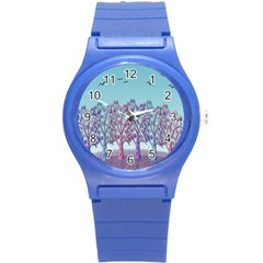 Blue Magical Landscape Round Plastic Sport Watch (s) by Valentinaart