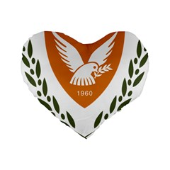 Coat Of Arms Of Cyprus Standard 16  Premium Flano Heart Shape Cushions by abbeyz71