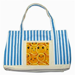 Cute Orange  Striped Blue Tote Bag by Brittlevirginclothing
