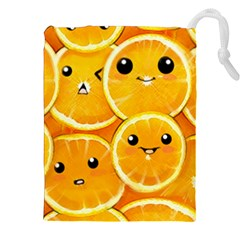 Cute Orange  Drawstring Pouches (xxl) by Brittlevirginclothing