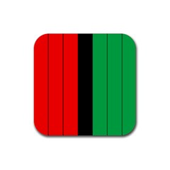 Kwanzaa Colors African American Red Black Green  Rubber Coaster (square)  by yoursparklingshop