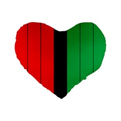 Kwanzaa Colors African American Red Black Green  Standard 16  Premium Flano Heart Shape Cushions by yoursparklingshop