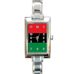 Pan African Unia Flag Colors Red Black Green Horizontal Stripes Rectangle Italian Charm Watch by yoursparklingshop