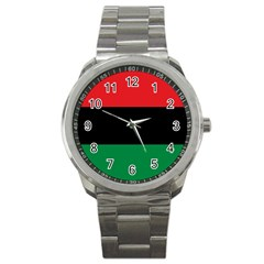 Pan African Unia Flag Colors Red Black Green Horizontal Stripes Sport Metal Watch by yoursparklingshop