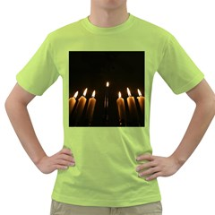 Hanukkah Chanukah Menorah Candles Candlelight Jewish Festival Of Lights Green T Shirt by yoursparklingshop