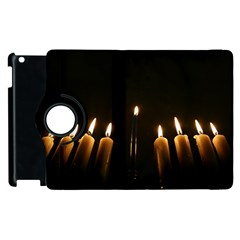 Hanukkah Chanukah Menorah Candles Candlelight Jewish Festival Of Lights Apple Ipad 3/4 Flip 360 Case by yoursparklingshop