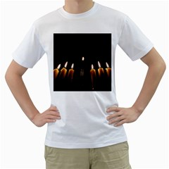 Hanukkah Chanukah Menorah Candles Candlelight Jewish Festival Of Lights Men s T Shirt (white)  by yoursparklingshop