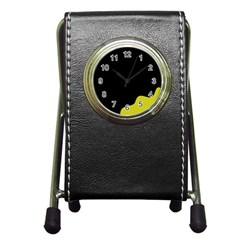 Black And Yellow Pen Holder Desk Clocks by Valentinaart