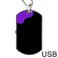 Purple And Black Dog Tag Usb Flash (one Side) by Valentinaart