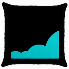 Black And Cyan Throw Pillow Case (black) by Valentinaart