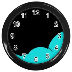 Black And Cyan Wall Clocks (black) by Valentinaart