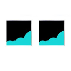 Black And Cyan Cufflinks (square) by Valentinaart