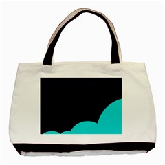 Black And Cyan Basic Tote Bag (two Sides) by Valentinaart