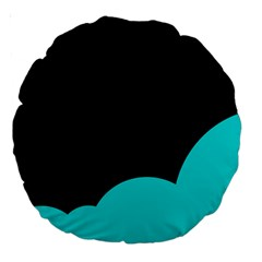 Black And Cyan Large 18  Premium Round Cushions by Valentinaart