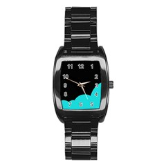 Black And Cyan Stainless Steel Barrel Watch by Valentinaart