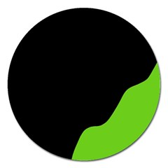 Black And Green Magnet 5  (round)