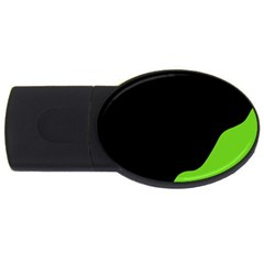 Black And Green Usb Flash Drive Oval (2 Gb)  by Valentinaart