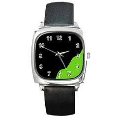Black And Green Square Metal Watch by Valentinaart