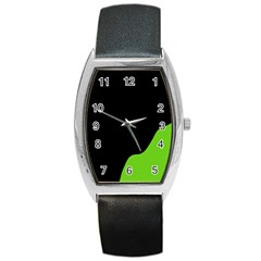 Black And Green Barrel Style Metal Watch by Valentinaart