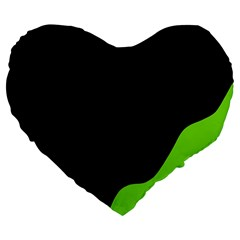Black And Green Large 19  Premium Flano Heart Shape Cushions by Valentinaart
