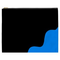 Blue And Black Cosmetic Bag (xxxl)  by Valentinaart
