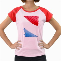 Tricolor Banner Flag, Red White Blue Women s Cap Sleeve T Shirt