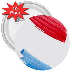 Tricolor Banner Flag, Red White Blue 3  Buttons (10 Pack)  by picsaspassion