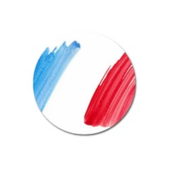Tricolor Banner Flag France, Blue White Red Watercolor Magnet 3  (round) by picsaspassion