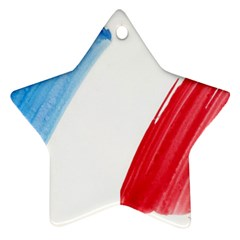 Tricolor Banner Flag France, Blue White Red Watercolor Star Ornament (two Sides)  by picsaspassion