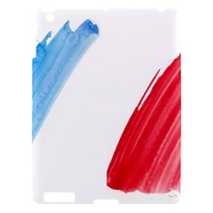Tricolor Banner Flag France, Blue White Red Watercolor Apple Ipad 3/4 Hardshell Case by picsaspassion