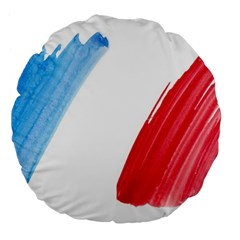 Tricolor Banner Flag France, Blue White Red Watercolor Large 18  Premium Flano Round Cushions by picsaspassion