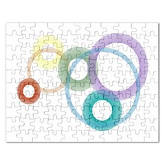 Rainbow Colors Circles Rectangular Jigsaw Puzzl by picsaspassion