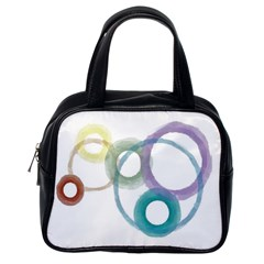 Rainbow Color Circles, Watercolor   Aquarel Painting Classic Handbags (one Side) by picsaspassion