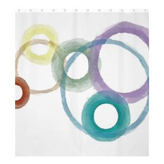 Rainbow Color Circles, Watercolor   Aquarel Painting Shower Curtain 66  X 72  (large)