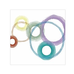 Rainbow Color Circles, Watercolor - Aquarel Painting Small Satin Scarf (square) by picsaspassion