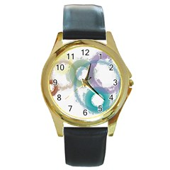 Rainbow Color Circles, Paintbrush Aquarel Round Gold Metal Watch by picsaspassion