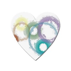 Rainbow Color Circles, Paintbrush Aquarel Heart Magnet by picsaspassion
