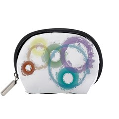 Rainbow Color Circles, Paintbrush Aquarel Accessory Pouches (small)  by picsaspassion
