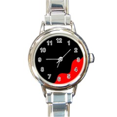 Black And Red Round Italian Charm Watch by Valentinaart