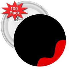 Black And Red 3  Buttons (100 Pack)  by Valentinaart