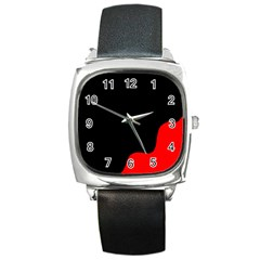 Black And Red Square Metal Watch by Valentinaart