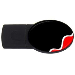 Simple Red And Black Desgin Usb Flash Drive Oval (2 Gb)