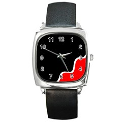 Simple Red And Black Desgin Square Metal Watch by Valentinaart