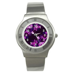Purple Bubbles Stainless Steel Watch by Valentinaart