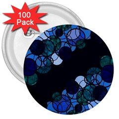 Blue Bubbles 3  Buttons (100 Pack)  by Valentinaart