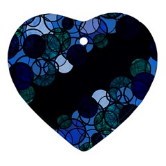 Blue Bubbles Heart Ornament (2 Sides) by Valentinaart