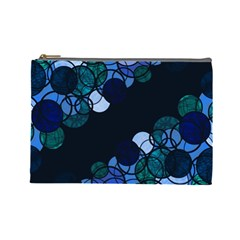 Blue Bubbles Cosmetic Bag (large)  by Valentinaart